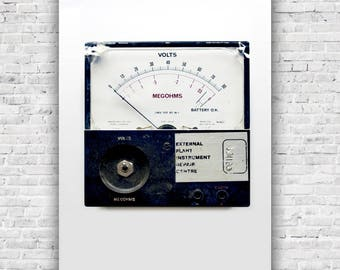Industrial Art Meter- Industrial, Garage , Man Cave wall art,