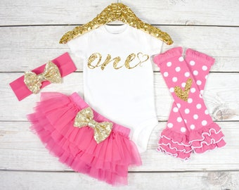 First Birthday Outfit, Baby Girl 1st Birthday Oufit, 1st Birthday Girl, Cake Smash Outfit, 1st Birthday Girl, One (S9) (1BD) (HOTPK)