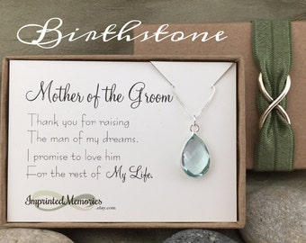 Mother of the GROOM Gift from Bride - Thank you For Raising the Man of My Dreams Birthstone Necklace Mother of the Groom Necklace Wedding