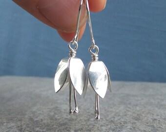 Sterling Silver Bell Flower Earrings - SHINY BELL FLOWERS - Handmade Metalwork Jewelry - Dangly Earrings - Silver Bells