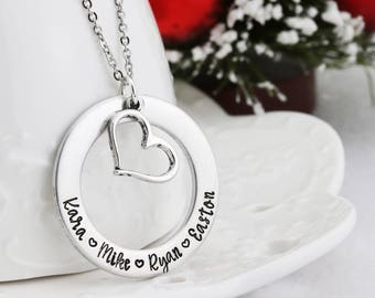 Hand Stamped Mothers Necklace - Mothers Jewelry - Grandmothers Jewelry - Personalized Necklace - Personalized Family Jewely - Gift forMom