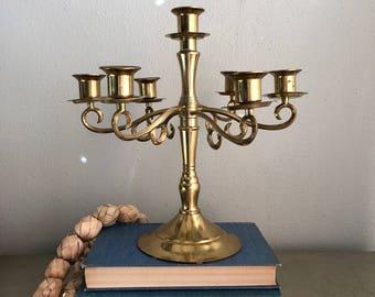 vintage brass candelabra 7 taper candle holder boho chic hollywood regency