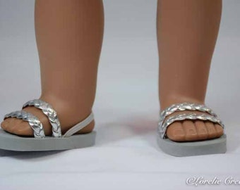 American Girl, 18 inch doll SANDALS SHOES Flipflops in Braided Silver Faux Leather with Heel Strap