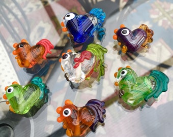 Chicken lampwork beads
