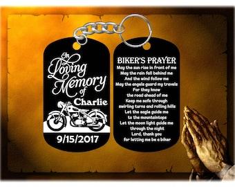 Biker - Harley Davidson Remembrance Keychain with The Biker's Prayer - Personalized