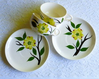 Two Vintage Midcentury Blue Ridge Southern Potteries Hand Painted Floral Teacup & Saucer Sets, USA. Midcentury Kitchenware, Home Decor, Prop