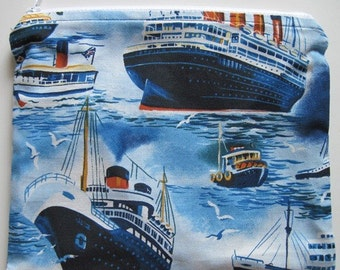 Lined Cosmetic Zipper Pouch - Cruise Ship