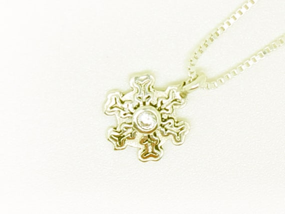 14k gold snowflake pendant with a diamond snowflake necklace 14k gold snowflake pendant with a diamond snowflake necklace made from 14k goldchristmas necklacechristmas gift aloadofball Images