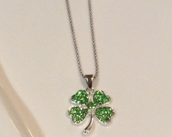 Free Shipping. Green clover necklace, four leaf clover necklace, st. Patrick's clover necklace