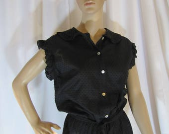 1970's Boho Ruffle Cap Sleeve Black Swiss Dot Midi Dress, Women's Small, Midi, Black, Swiss Dot, Cotton, Semi Sheer, Boho, Bohemian, 70's
