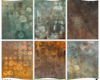 Grungy Green and Rust Painted Digital Prints Instant Download Set of 6 - 8.5 x 11 inch Printable Papers JPEG & PDF Commercial Use 1911