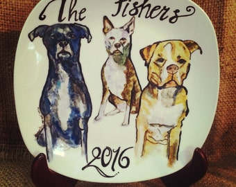 """Large Custom Porcelain Hand Painted Dog Plate 10"""" for Birthday Special Occasion Wedding or Engagement Gift"""