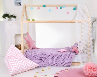 Toddler bed House bed Tent bed Wooden house Wood house Kids teepee bed Wood house bed Wood bed frame Play bed Nursery bad Montessori bed