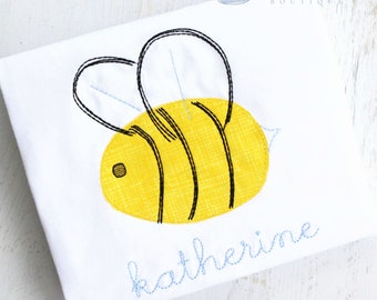 Bumble Bee Blanket Stitch Applique Shirt - Personalized Girl Shirt