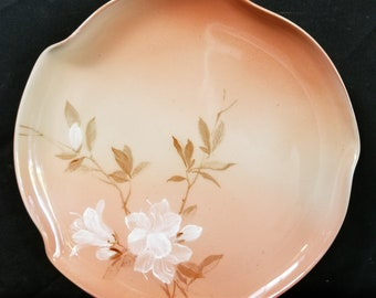 Rookwood Pottery Cameo High   plate with flowers 1890 4 Flame Mark 289w