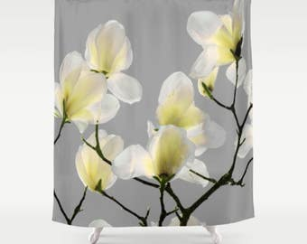 Shower Curtain, Gray, Magnolia, Botanical, 71x74 inches, Exceptional Quality, fPOE
