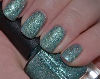 Aquatik (Discontinuing) - Green Aqua Holographic Glitter Nail Polish