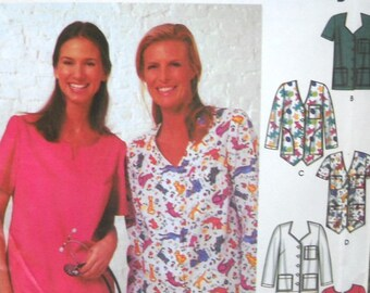 Simplicity 5440 Misses Scrubs Tops Pattern Sizes 8, 10, 12, 14, Factory Folded Uncut, Medical Scrubs Sewing Pattern