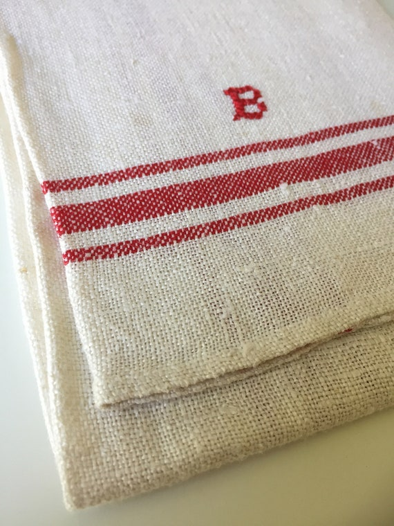 Vintage/woven/Scandinavian/hand towel/kitchen towel/monogram B/red and white