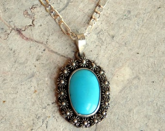 Vintage Middle Eastern Turquoise and Sterling Silver Pendant Necklace - Large Pure Blue Oval Stone - Artisan Hand-Worked - Sterling Chain