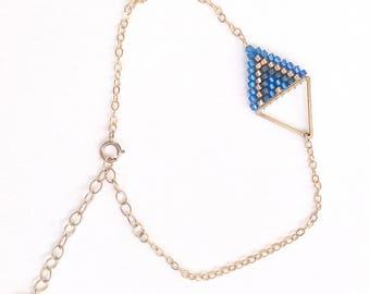 Triangle Blue Black Gold Filled bracelet