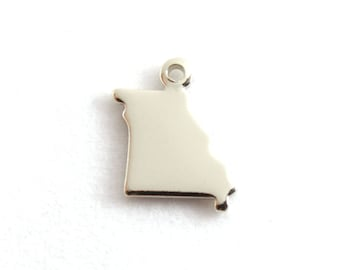 2x Silver Plated Blank Missouri State Charms - M070-MO