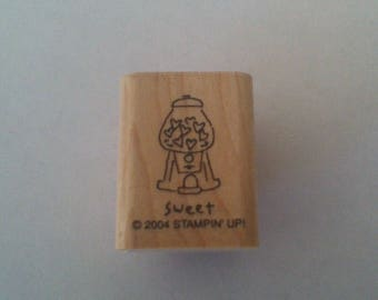 Sweet Rubber Stamp, Gumball Machine Stamp, Valentines Day Stamp, Stampin' Up 2004, Wood Mounted Rubber Stamp, Card Making, Scrapbooking