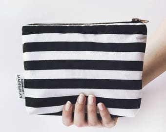 Black and white, pencil case, cosmetic bag, pencil pouch, zipper pouch, cosmetic pouch, make up bag, pouch, case, cosmetic case, zipper bag