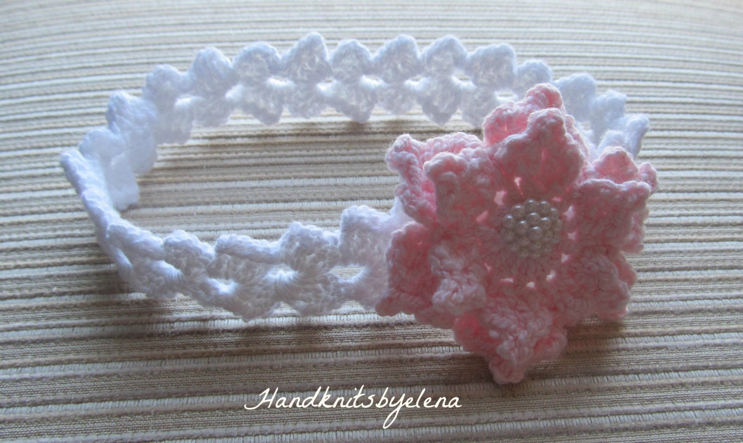 Crochet pattern 156 baby headband with a pink rose in sizes zoom bankloansurffo Image collections