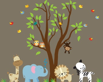 Nursery Tree Wall Decal  REUSABLE Fabric Wall Decal Eco-friendly Pvc Free 808