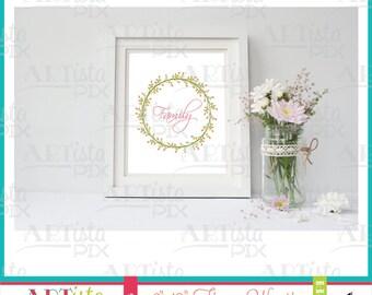 Flower Wreath Wall Art, Circle Wall Art, Summer Wall Art, Spring Wall Art, Printable Wall Art, Instant Download, Digital Download