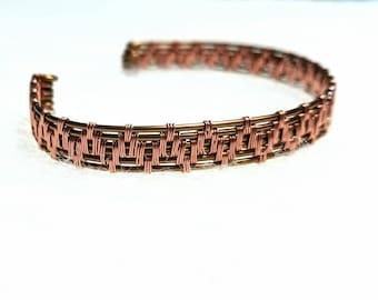 Wire Wrapped Bracelet, Copper Bracelet, Antique Brass Bracelet, Wire Bracelet, Cuff Bracelet, Handmade Bracelet, Handmade Jewelry
