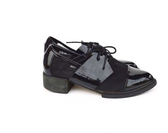 patent leather MESH oxford shoes / size 7