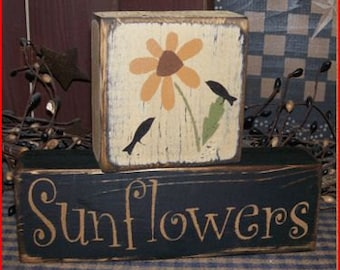 Sunflowers Primitive block Sign