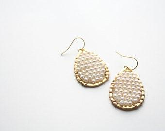 Pearl Teardrop Earrings, Boho Wedding Earrings, Pearl Earrings