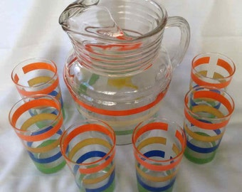 Vintage Striped Pattern Glass Pitcher with Six Matching Glasses - Made in USA - Mid-Century