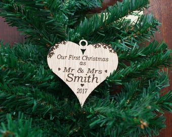 Personalised Bauble Wooden Our First Christmas, Mr & Mrs Heart Decoration, Oak