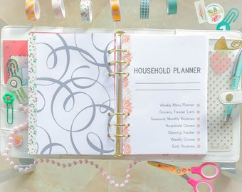 HOUSEHOLD Planner Half Letter Planner Cleaning Checklist Schedule PDF Household Binder Family Planner Home Organizer Printable 11 docs