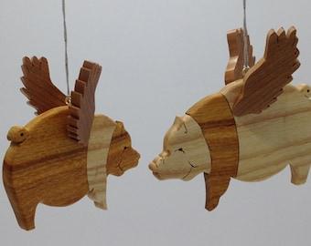 Flying Pig Ornaments - Canarywood & Ash