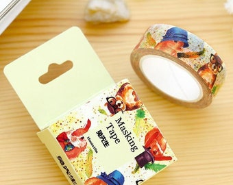 Hipster Squirrel Rabbit tape 10M cute bunny washi tape deco tape masking tape cartoon scrapbook planner happy mail craft