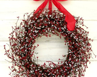 Christmas Wreath-Winter Wreath-Christmas Home Decor-RED & WHITE Door Wreath-Summer Wreath-Patriotic Decor-Holiday Home Decor-Scented Wreath
