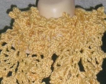 Scarves, Scarf, Ruffly Scarf , Womens Fashions, Girls Fashions, Accessories, Yellow, Crochet, Women, Girls