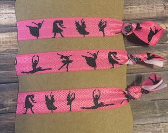Ballerina Hair Ties Set of 3. Kids Hair Ties. Pink Hair ties. Dance Hair ties.