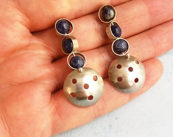 Silver stud earrings - sodalite stone earrings- inspired by the Moon - drop earrings