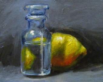 Lemon and Glass - original daily painting on canvasboard