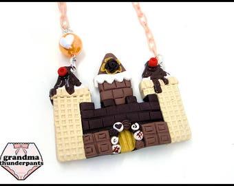 Chocolate Ice Cream Castle Necklace, Princess, Hime, Hime-Kei, Fairy-Kei, Original Design