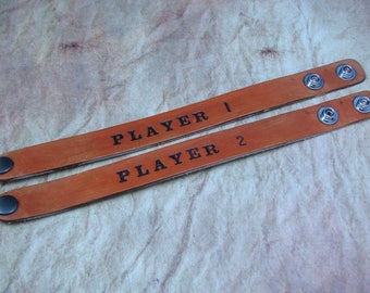 Player 1 and Player 2 Hand Stamped Leather Bracelets, Leather Cuffs, Geek Bracelets, Couples Bracelets, Gamer Bracelets,Unisex Leather Cuffs