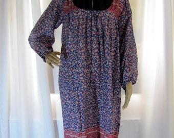 1970's Blue and Pink Floral Indian Cotton Gauze Block Print Dress, Gauze, Block Print, Blue, Pink, Indian, Pakistan, Medium to Large, Boho