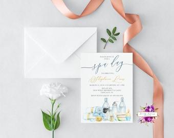 Spa Day invitation - Spa Bridal Shower - Spa Birthday - Spa Bachelorette  - Spa Girls Day - Blue and Yellow - Printable Digital Invitation