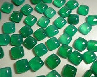 10 pieces natural green onyx square shape cabochon gemstone calibrated size